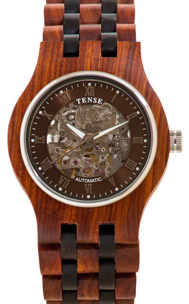 Tense Wooden Watch Automatic Skeleton - Rosewood/ Dark Sandalwood