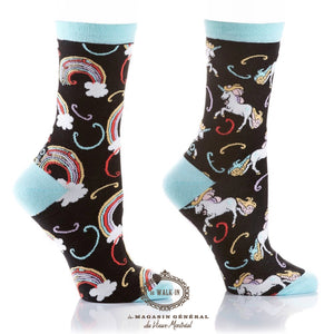 Bas Amusants Motifs Arc-En-Ciel et Licornes / Unicorns and Rainbow funky ladies socks - Le Walk-in MGVM