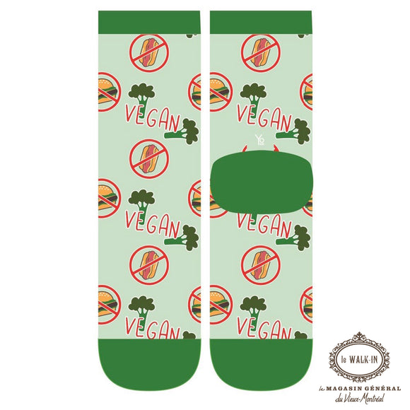 Bas Amusants Motifs VEGAN Verts / Vegan theme funk ladies socks - Le Walk-in MGVM