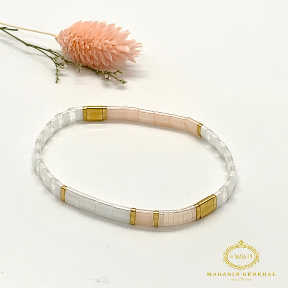 Bracelet with Pink and White Glass Beads