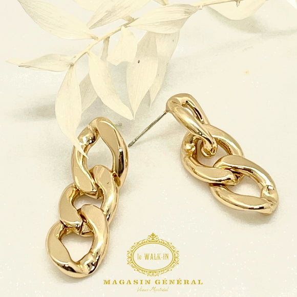 Golden Chain Hoops Earrings