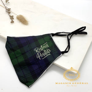 "Masque Confortable Motif Carreaux Blackwatch tartan ""restons positifs"""