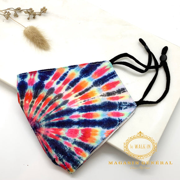 Masque Confortable Motif Tie Dye multicolore
