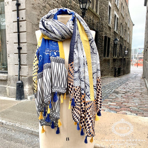 Foulard Pop Culture Patchwork Créatif Bleu Royal Jaune Gris - Le Walk-in MGVM