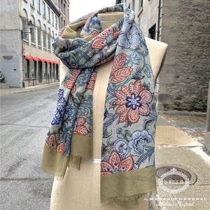 Foulard Collection Le Marais Bordure Vert Sauge - Le Walk-in MGVM