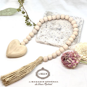 Déco Guirlande Billes Bois Pampille Jute Naturelle / Decorative Garland Wood Beads - Le Walk-in MGVM