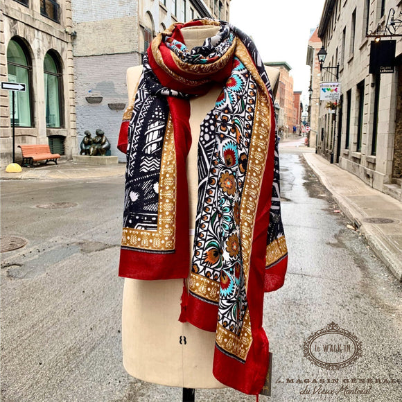 Foulard Pop Culture Pompon en Bordure Rouge-Marine-Moutarde - Le Walk-in MGVM
