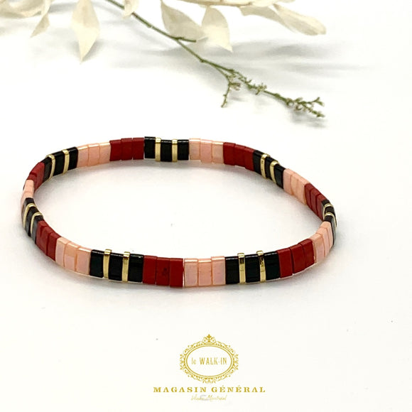 Bracelet with Red and Black Glass Beads