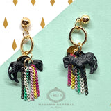 Boucles Ludique licorne et chaine aux couleurs de l'arc-en-ciel / black unicorn rainbow earrings - Le Walk-in MGVM