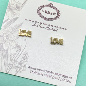 Boucles Tiny minis love lettres carrées , placage or sur acier inoxydable - Le Walk-in MGVM