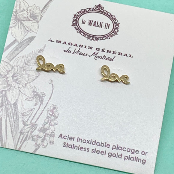 Boucles Tiny minis love lettres attachée , placage or sur acier inoxydable - Le Walk-in MGVM