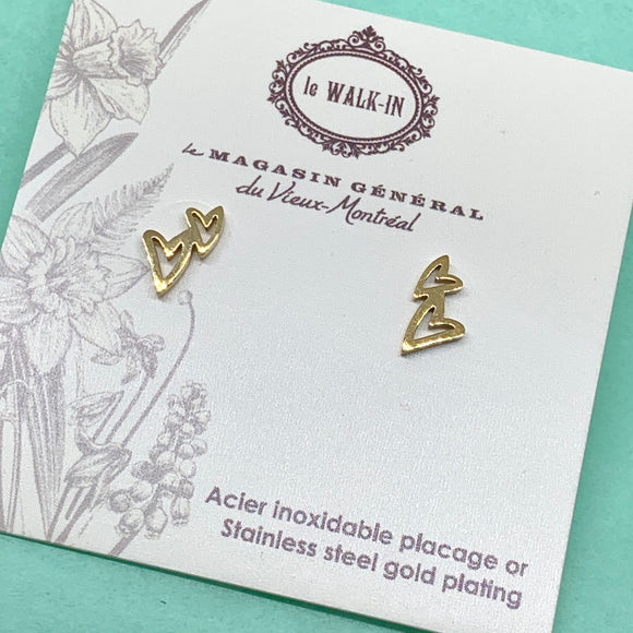 Boucles Tiny minis 2 coeurs stylisés , placage or sur acier inoxydable /double-heart studs - Le Walk-in MGVM