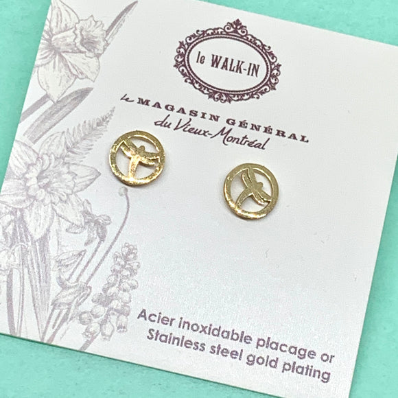 Boucles Tiny minis libellule encerclée , placage or sur acier inoxydable - Le Walk-in MGVM