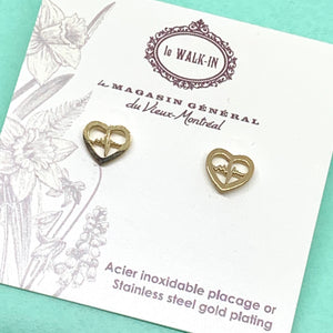 Boucles Tiny minis coeur + battements, placage or sur acier inoxydable - Le Walk-in MGVM
