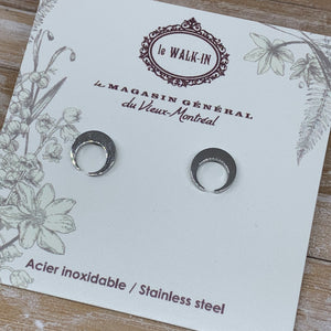 Boucles Tiny minis acier inoxydable lune ronde / circle moon - Le Walk-in MGVM