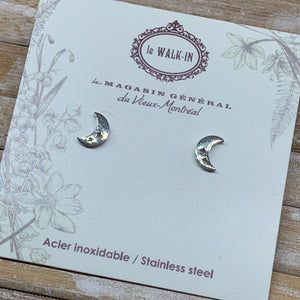 Boucles Tiny minis acier inoxydable lune insertion étoilée / moon stars - Le Walk-in MGVM