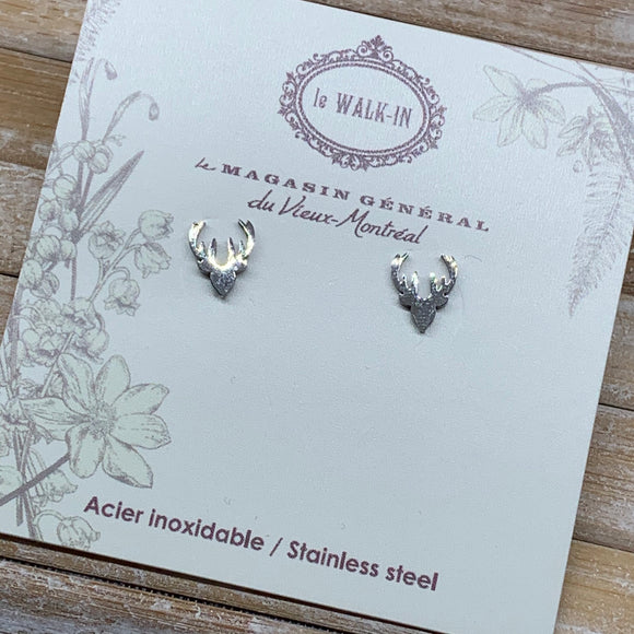 Boucles Tiny minis acier inoxydable tête de chevreuil / stag head - Le Walk-in MGVM