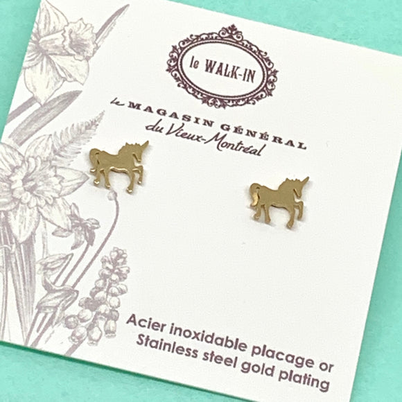 Boucles Tiny minis licorne, placage or sur acier inoxydable / unicorn studs - Le Walk-in MGVM