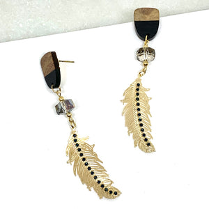 Boucles Collection Bois Moderne Plume Mini Zircons Bille Verre en Suspension Noire - Le Walk-in MGVM