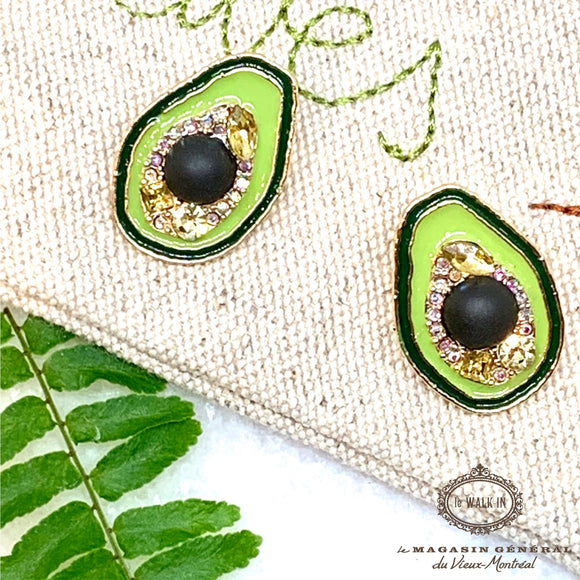 Boucles Ludique Avocat Émail Coloré Or / Avocado Enamel Studs Earrings - Le Walk-in MGVM