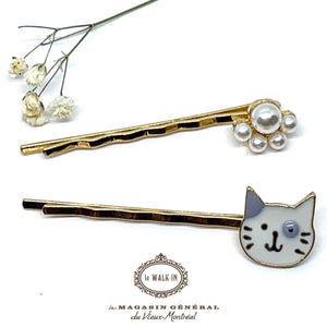 Barrette Duo Bobby Pins Chat et Assemblage de Perles - Le Walk-in MGVM