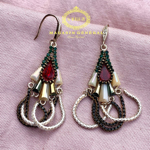 Boucles Royales Somptueuse Art Déco Pierre Rouge Chaines suspendues - Le Walk-in MGVM