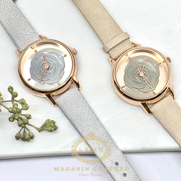 Montre Fleur 3D Bracelet coloré / Raised Flower Motif Band Feminine Watch - Le Walk-in MGVM