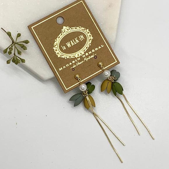 Boucles fleurs avec chaines pendantes / Earrings with Flowers and Dangling Chains