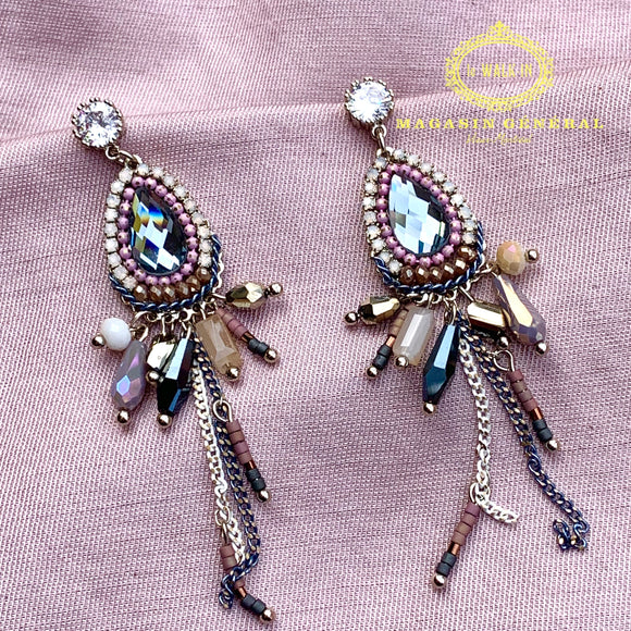 Boucles Royales Somptueuse Goutte Billes Strass Chaine Cascade Couleur Rosée - Le Walk-in MGVM
