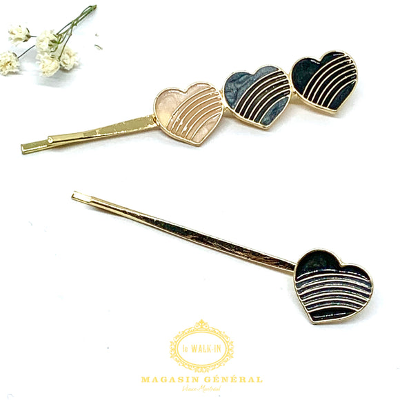 Barrette Duo Bobby Pins Coeurs stiés - Le Walk-in MGVM