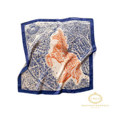 Foulard petit carré soyeux bleu et cheval orange / Orange Horse and Blue Small Silky Square