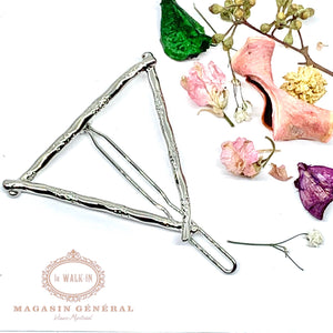 Barrette triangle argent inspiration bambou - Le Walk-in MGVM