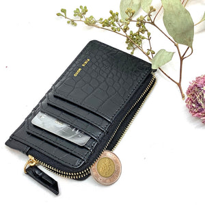 Porte-Cartes et Monnaie Format Parfait Noir Texture Crocodile / Slim Profile Card Holder