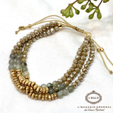 New Delhi Bracelet Green and Gold Beads Adjustable - Le Walk-in MGVM