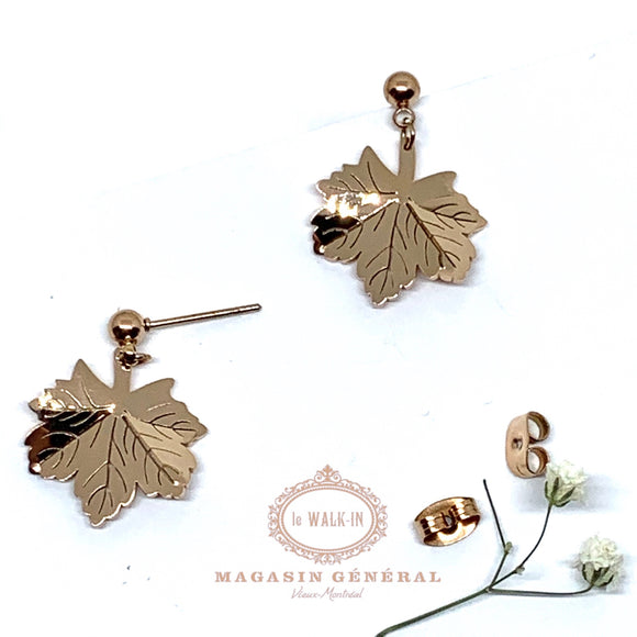 Boucles Or Rose feuille d'érable stylisée - Le Walk-in MGVM