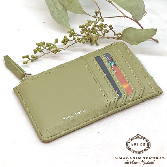 Porte-Cartes et Monnaie Format Parfait Vert Sauge / Slim Profile Card Holder - Le Walk-in MGVM