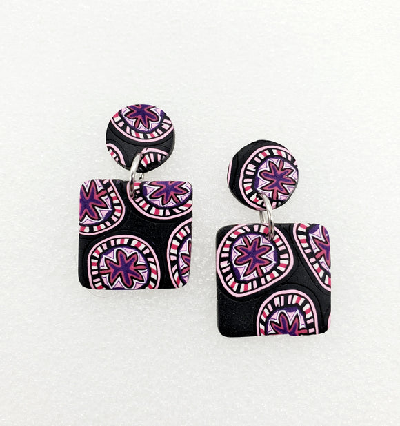 Breast Cancer Awareness Cane Earrings