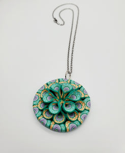 Stained Glass Cane 3D Pendant Necklace