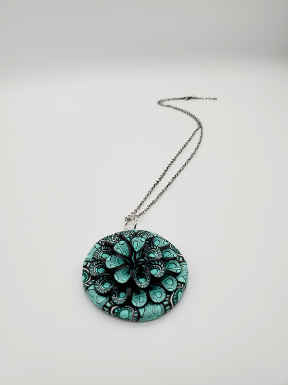 Mixed Cane 3D Pendant Necklace No. 1