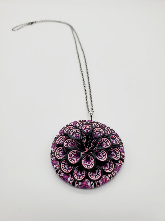 Breast Cancer Awareness Cane 3D Pendant Necklace