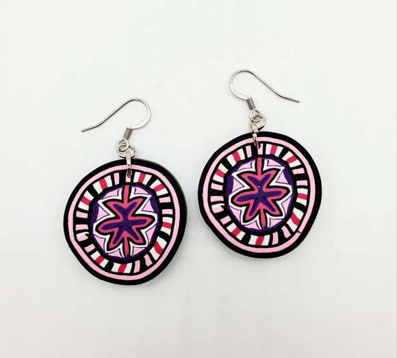 Breast Cancer Awareness Cane No. 1 Disk Earrings