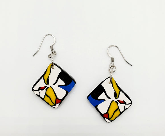 Mondrian Diamond Disk Earrings