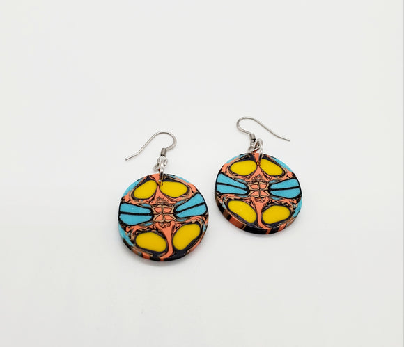 Monarch Cane Disk Earrings