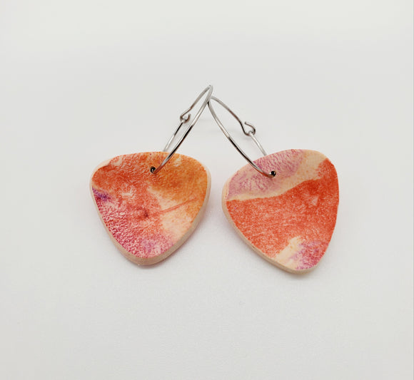 Tye-dye Cupped Triangle Earrings No.2
