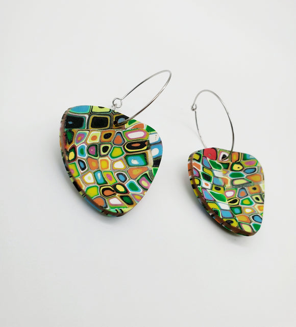 Klimt Cupped Triangle Earrings