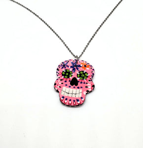 Sugar Skull Necklace (Bright Pink)