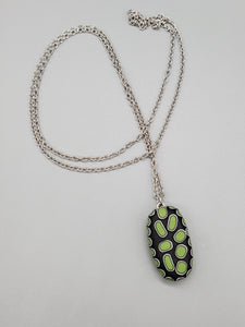 Simple Cane Candy Drop Green Necklace