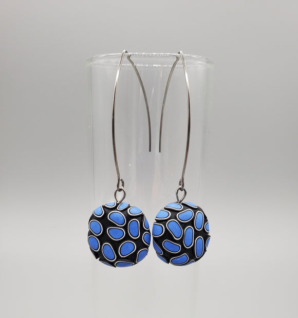 Simple Cane Candy Drop Blue Earrings