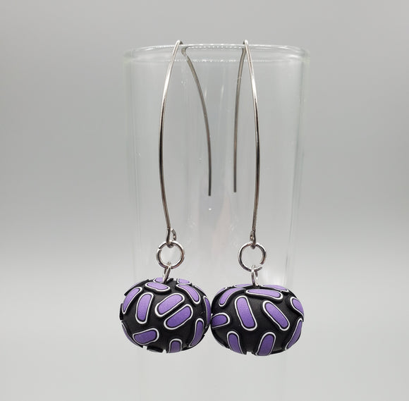 Simple Cane Candy Drop Purple Earrings