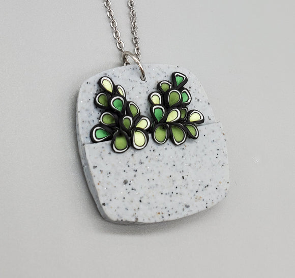 For the Love of Plants Rounded Square Necklace